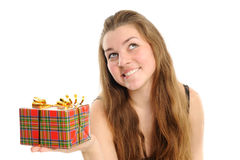 The happy woman with the gift Stock Photo