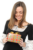 The happy woman with the gift Stock Image