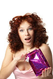 Happy woman with gift Stock Images