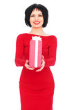 Happy woman with gift Royalty Free Stock Photography