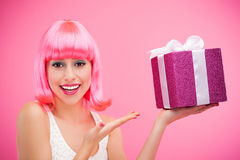 Happy woman with gift Stock Image
