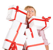 Happy woman with a gift Stock Photos