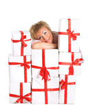 Happy woman with a gift Stock Image
