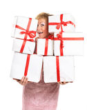 Happy woman with a gift Royalty Free Stock Photos