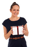 Happy woman with gift box Stock Photo