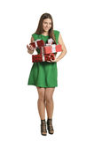 Happy woman with gift box Royalty Free Stock Photos