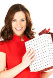 Happy woman with gift box Royalty Free Stock Photography
