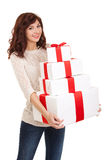 Happy woman with gift boxes Stock Image
