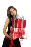 Happy woman with gifts Stock Image