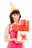 Happy woman with gifts Stock Images