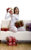 Happy woman with gifts Royalty Free Stock Images