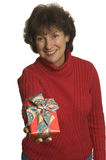 Happy woman with gifts stack Stock Photo