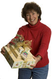 Happy woman with gifts stack Royalty Free Stock Photos