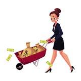 Happy woman, girl, businesswoman pushing wheelbarrow full of money bags Royalty Free Stock Photography