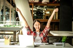 Happy woman girl teenager raising hands with gladness happiness. Happy asian woman girl teenager raising hands with gladness happiness stock photo