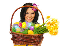 Happy woman giving Easter basket Royalty Free Stock Images