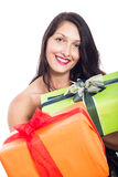Happy woman giving present Stock Photos