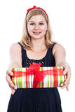 Happy woman giving present Royalty Free Stock Photos