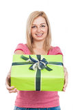 Happy woman giving present Royalty Free Stock Image