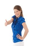 Happy woman giving thumb up Stock Images