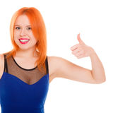 Happy woman giving thumbs up sign isolated Stock Photography