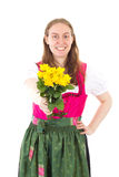 Happy woman giving you roses as present Stock Image