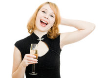 Happy woman with a glass Stock Images