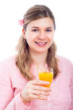 Happy woman with glass of orange juice Royalty Free Stock Image