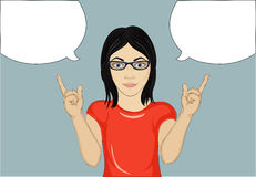 Happy woman with glasses a new idea  and gestures index finger up Royalty Free Stock Images