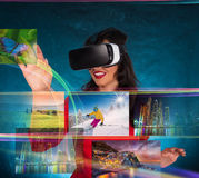 Happy woman with glasses of virtual reality. Royalty Free Stock Photo