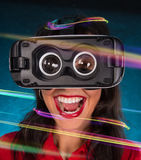 Happy woman with glasses of virtual reality. Royalty Free Stock Photography