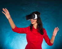 Happy woman with glasses of virtual reality. Stock Photos