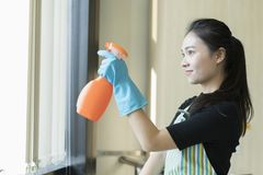 Happy woman in gloves cleaning window with cleanser spray. At home Stock Photography