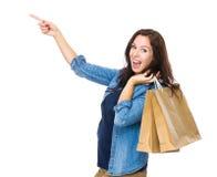 Happy woman go shopping Stock Photos