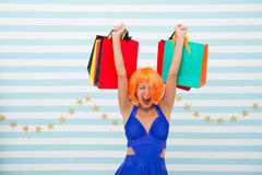 Happy woman go shopping. Real happiness. Last preparations. big sale in shopping mall. Crazy girl with shopping bags. Fashion. Black Friday sales. Happy stock image