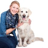 Happy woman with Golden Retriever dog Stock Image