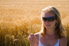 Happy woman for good harvest. Happy young woman for good harvest stock images