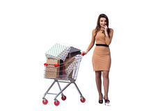 The happy woman after good shopping isolated on white Royalty Free Stock Photo