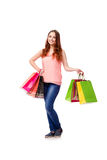 The happy woman after good shopping isolated on white Royalty Free Stock Images