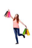 The happy woman after good shopping isolated on white Royalty Free Stock Image
