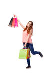 The happy woman after good shopping isolated on white Stock Photography