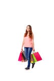 The happy woman after good shopping isolated on white Royalty Free Stock Photography