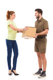 Happy woman got a delivery stock photo