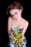 Happy woman with grape Stock Photo
