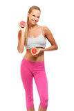 Happy woman with grapefruit on white background Stock Photography