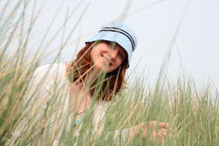 Happy Woman Among Grass Stock Images