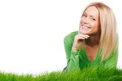 Happy woman on grass Stock Images