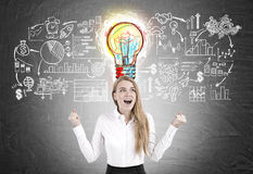 Happy woman and great business idea Stock Photography