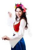 Happy woman in Greek national costume stock photos