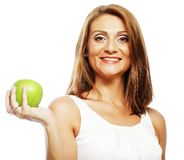 Happy woman with green apple Stock Images